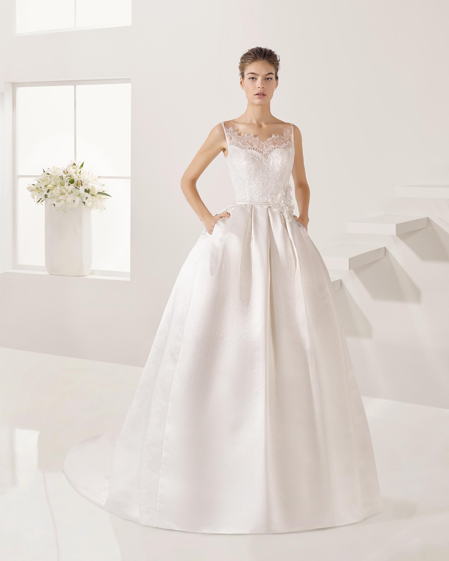Vestidos novia raso natural