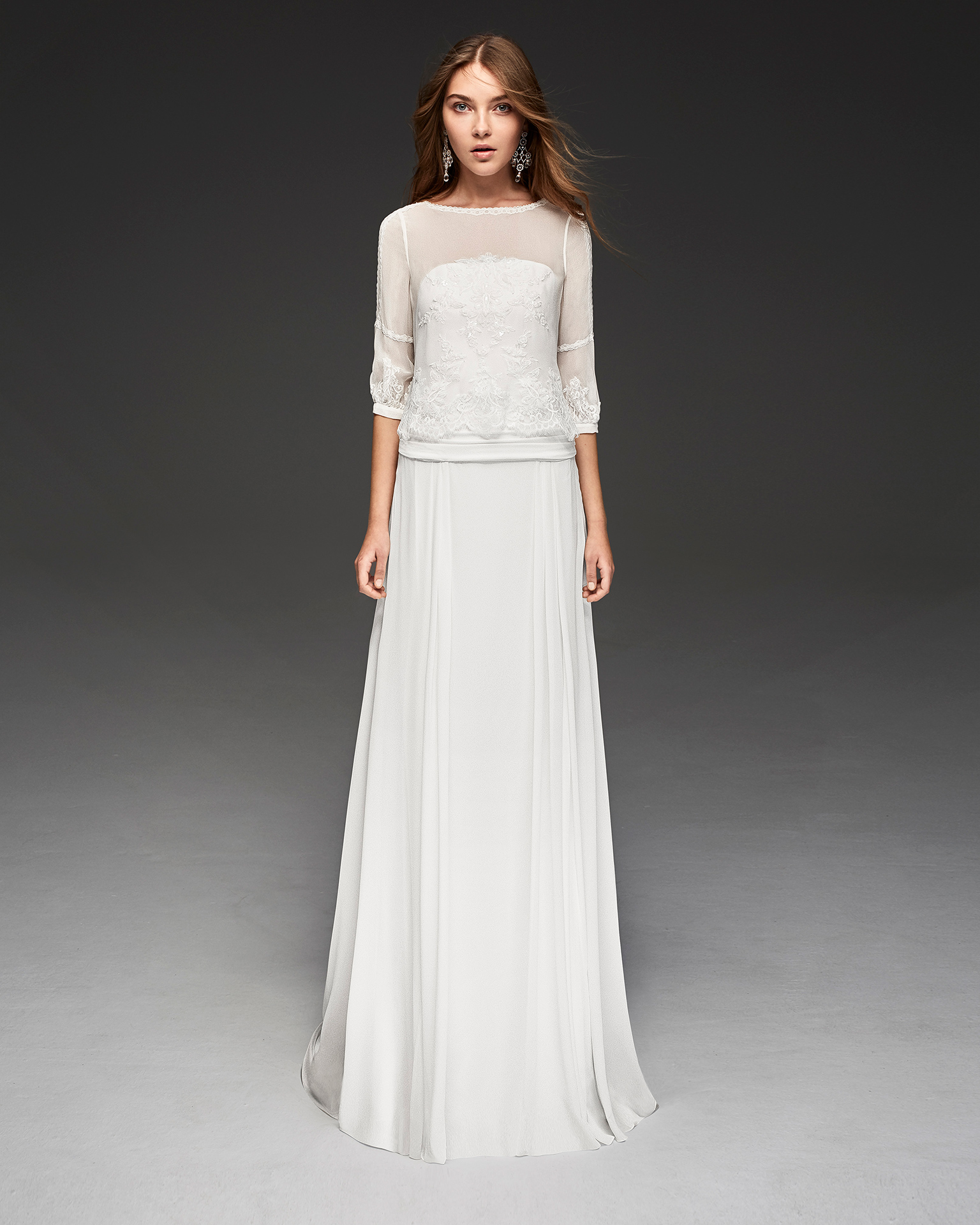 Boho-style three-piece beaded lace and crepe Georgette wedding dress with three-quarter sleeves.